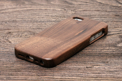 Personalized Logo Walnut Wood Iphone Case for Iphone 5 or Iphone SE, Add Your Logo