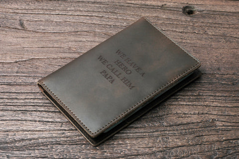Personalized Leather Passport Wallet Case for Men