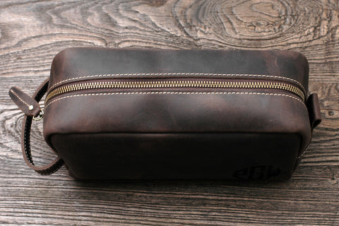 2965f76aea Personalised Leather Travel Toiletry Bag Dopp Kit for Men Monogrammed  Customized