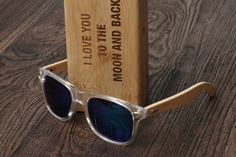 Personalized Sunglasses Wood, Bamboo, Tranparent Blue, Mirrored Lens