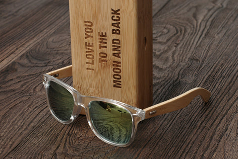 Personalized Sunglasses Wood, Bamboo, Tranparent Yellow, Mirrored Lens