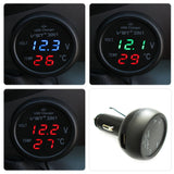 3 in 1 Digital LED car Voltmeter Thermometer - 12V/24V Temperature Meter Voltmeter Cigarette Lighter-RPM Mods