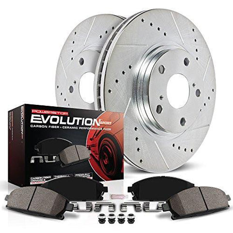 Power Stop K1043 Front Z23 Evolution Brake Kit with Drilled/Slotted Rotors and Ceramic Brake Pads-RPM Mods