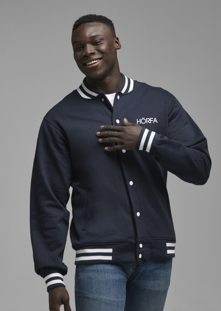 Varsity Jacket in Navy/White