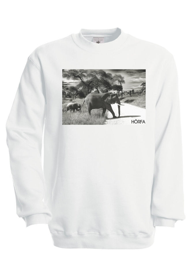 Elephant Print Sweatshirt in White