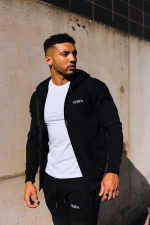 Zip up hoodie and jogger, perfect men's gym wear