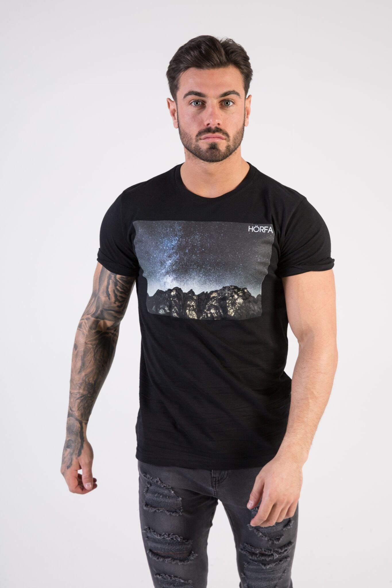 STARGAZER Muscle Fit T-Shirt - HÖRFA is a men's global fashion brand that provides products such as Fashionable Watches, Wallets, Sunglasses, Belts, Beard and Male Grooming Products