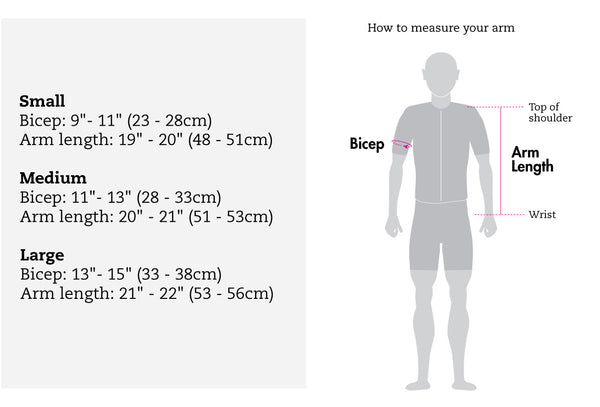snek cycling merino arm warmer size chart