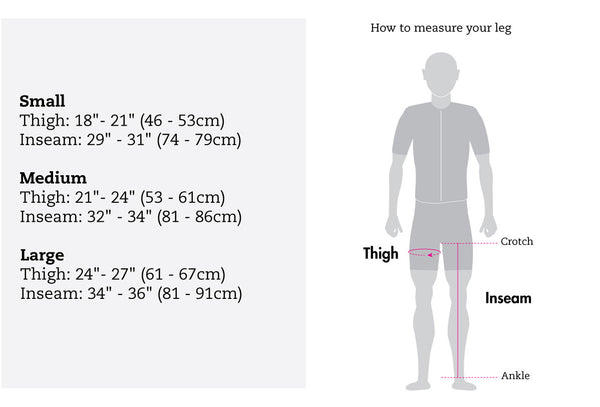 snek cycling merino knee warmer size chart