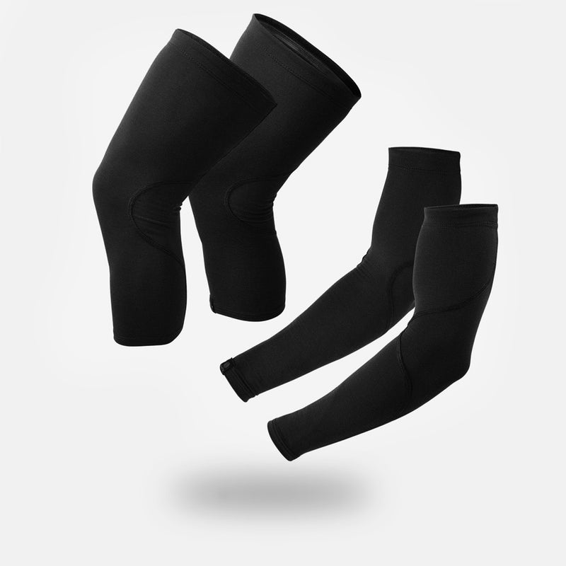 Black Merino Arm & Knee Warmer Bundle