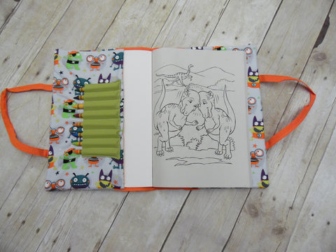Coloring Book Tote - Gray Monster