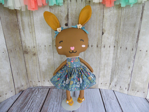 Bunny, Brown, Girl, Turquoise Dress