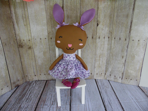 Bunny, Brown, Girl, Purple