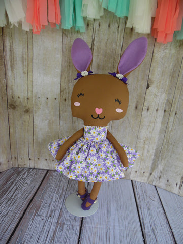 Bunny, Brown, Girl, Purple Daises