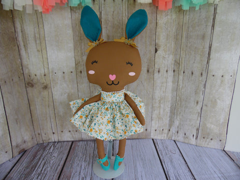 Bunny, Brown, Girl, Turquoise/Gold Floral Print