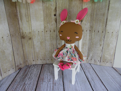 Bunny, Brown, Girl, White/Pink Floral Print