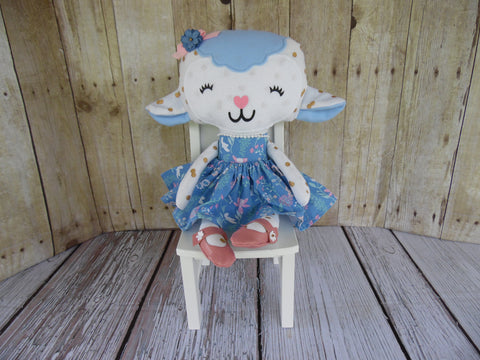 Lamb, Girl, White/Gold; Blue/Pink Floral