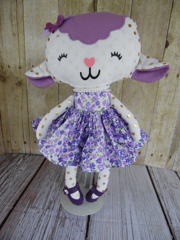 Lamb, Girl, White/Gold; White/Purple Floral
