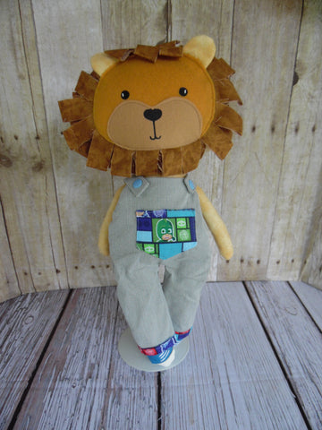 Lion, Boy, Orange, Blue/White Dungarees