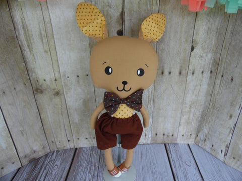 Bunny, Brown, Boy, Tan-Brown Polka Dot/Brown Shorts