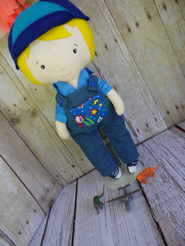 Boy Doll, White, Yellow Hair, Blue Shirt/Denim Overalls