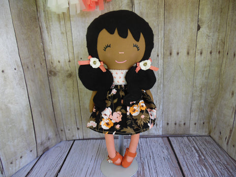 Ponytail Girl Doll, Dark, Black Hair, White/Orange Floral Print