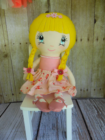 Ponytail Girl Doll, White, Yellow Hair, Pink Floral Print