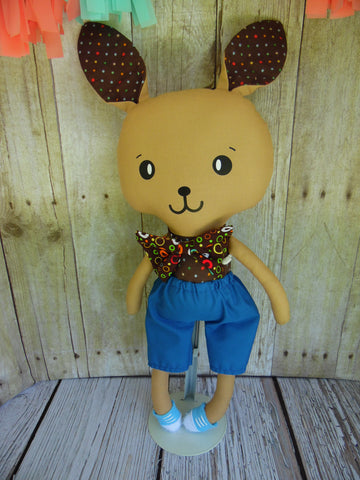 Bunny, Brown, Boy, Brown Polka Dot/Blue Shorts