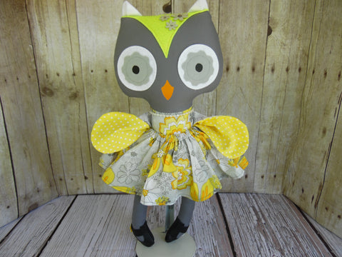 Owl, Girl, Gray, Yellow/Gray Floral Print