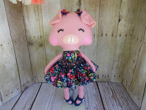 Pig, Pink, Girl, Navy Floral Print Dress