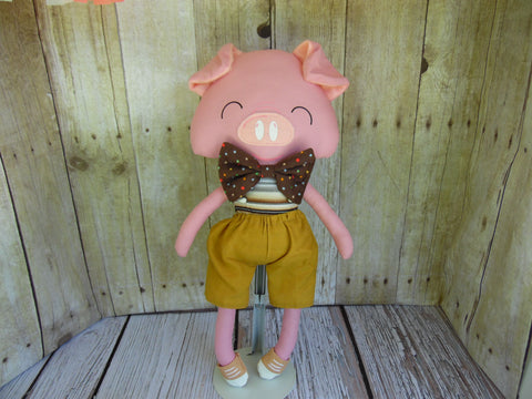 Pig, Pink, Boy, Brown/Gray Striped Body/Tan Shorts