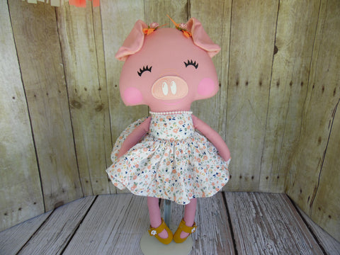 Pig, Pink, Girl, White Floral Print Dress