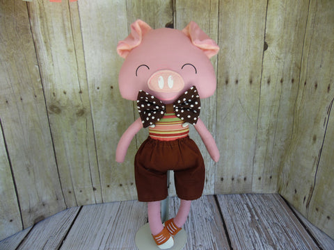 Pig, Pink, Boy, Brown/Pink Striped Body/Brown Shorts