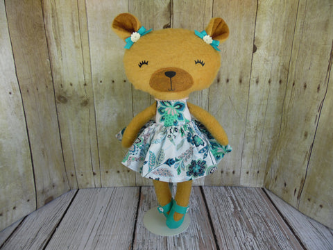 Bear, Girl, Tan Turquoise and White Dress
