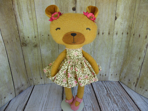 Bear, Girl, Tan Cream/Pink Floral Print