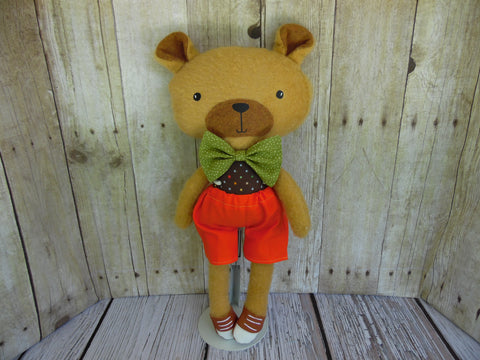 Bear, Tan, Boy Orange Shorts/Polka Dot