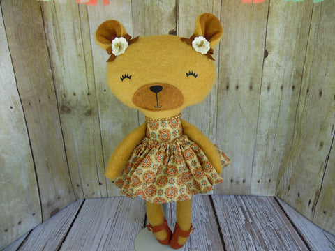 Bear, Girl, Tan - Tan Floral Print