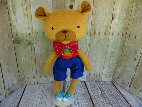 Bear, Tan, Boy Blue Shorts - Red/Blue/Green Striped