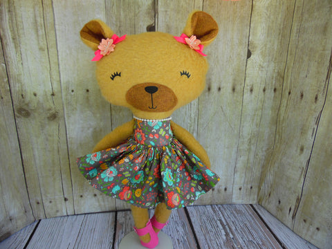 Bear, Girl, Tan - Brown Floral Print