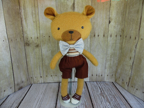 Bear, Tan, Boy Brown Shorts - Brown/Gray Striped