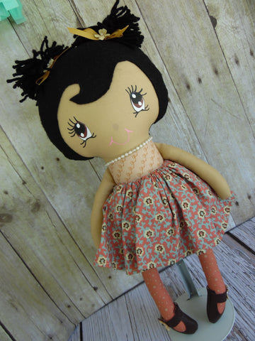 Ponytail Girl Doll, Tan, Black Hair, Beige/Mauve Floral Print