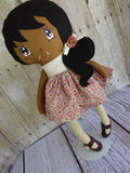 Ponytail Girl Doll, Dark, Black Hair, Beige/Mauve Floral Print