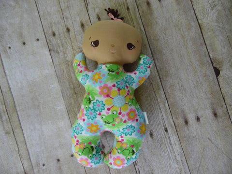 Butterbean Baby - Tan Girl - Floral/Frog Print