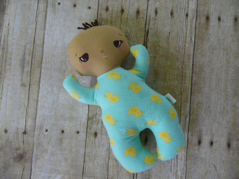 Butterbean Baby -Tan Boy - Light Blue/Yellow Duckies