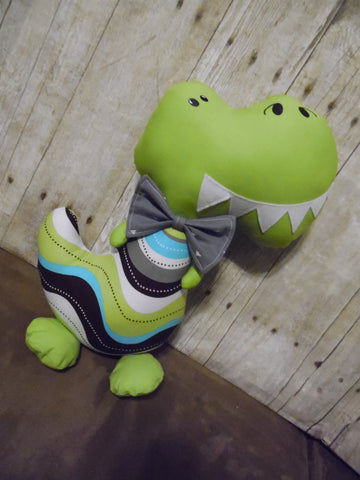 Dinosaur, Boy, T-Rex, Lime Green with Wavy Stripes