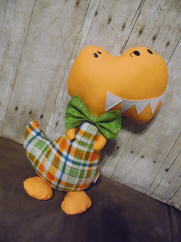Dinosaur, Boy, T-Rex, Orange with Plaid
