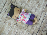Wee Baby Girl Doll, Tan, Purple Shorts/Butterfly Print Top