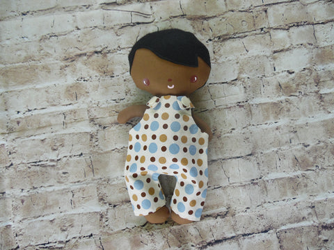 Wee Baby Boy Doll, Dark, Polka Dot Overalls