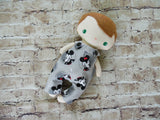 Wee Baby Boy Doll, White, Mickey Mouse Print Overalls