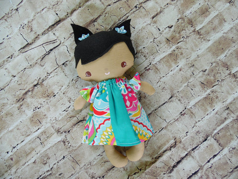 Wee Baby Girl Doll, Tan, Turquoise Print Dress